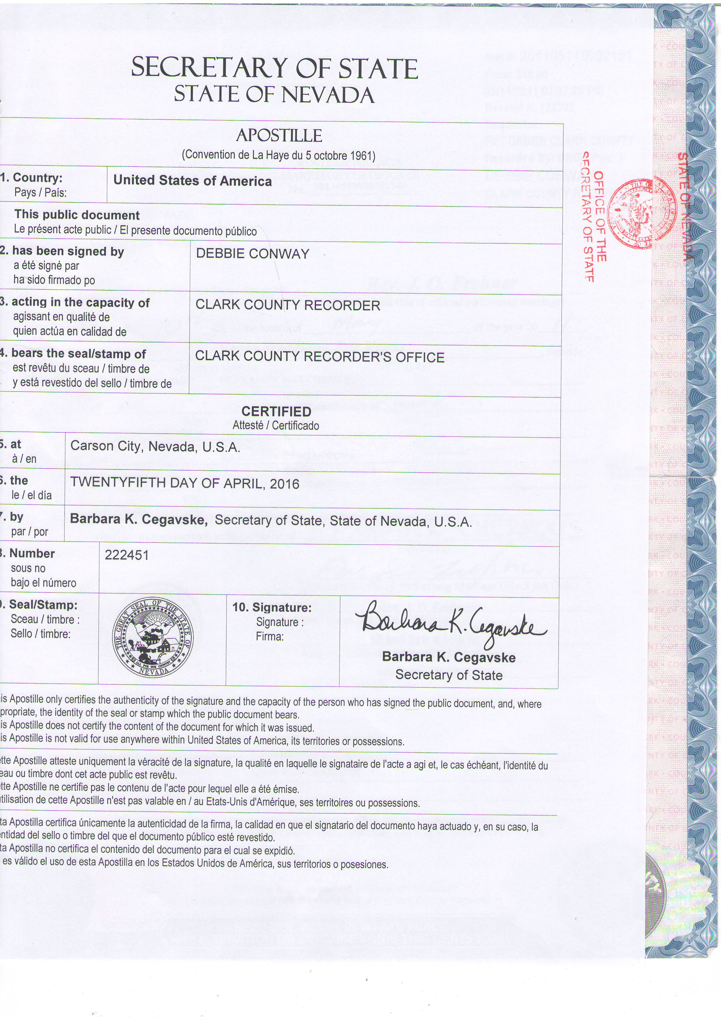 Us apostille obtaining a certified copy from the usa 380 99 nevada apostille aiddatafo Gallery