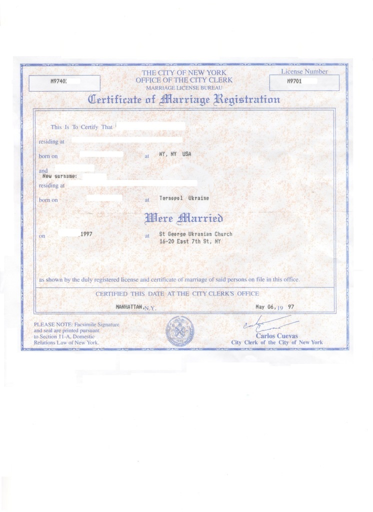 Marriage Certificate Ny Kyiv Legalization Center